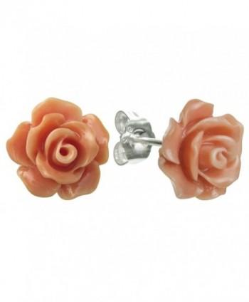 Sterling Silver Simulated Pink Orange Coral Rose Earrings Stud Post 10mm - CA127YP0EGP