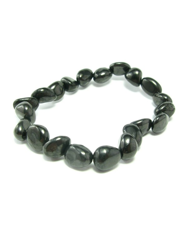 Shungite Bracelet From Russia - Freeform Tumbled Beads - CH127XYRMXF