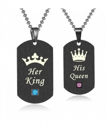 "His and Hers Matching Set Stainless Steel ""His Queen"" and ""Her King"" Couple Pendant Necklace- NK529 - CN1879GGXZE"