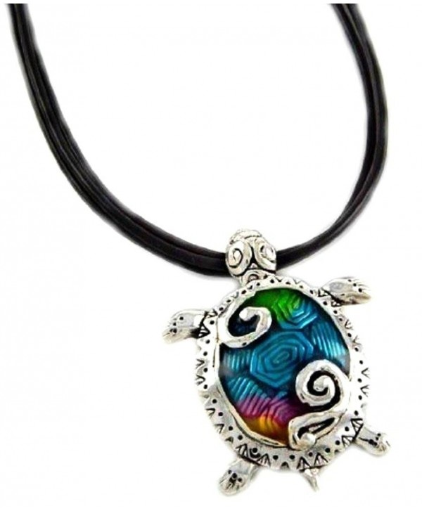 "DianaL Boutique Sea Turtle Large Pendant Necklace Enameled Hand Painted on 18"" Black Cord Gift Boxed - CJ11GX7AMW1"