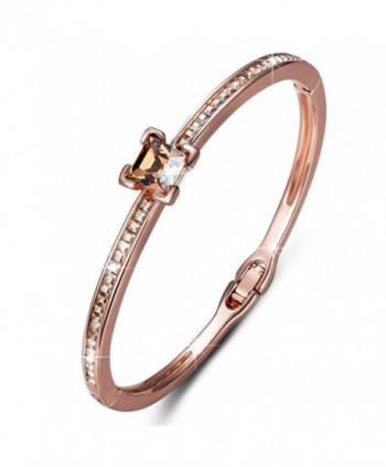 QIANSE *Light of Life* Rose Gold Plated Bangle Bracelet Made with SWAROVSKI Crystals- Women Jewelry - CN11WW433FD
