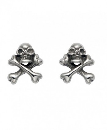 Stainless Steel Skull & Crossbone Stud Earrings - CS119ECKMH3