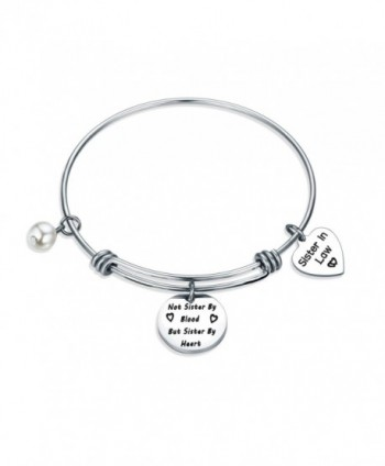 Gzrlyf Sister In Law Bracelet Not Sister By Blood But Sister By Heart Charm Bangle Bracelet Sister Friend Gift - CN186TSUNWZ