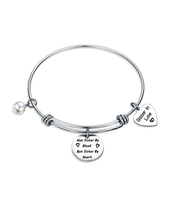 Gzrlyf Sister In Law Bracelet Not Sister By Blood But Sister By Heart Charm Bangle Bracelet Sister Friend Gift - CN186TSUNWZ