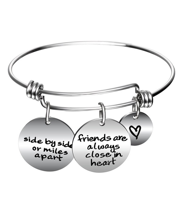 Side By Side Or Miles Apart Best Friends Charms Bangle Bracelets - Long Distance Friendship Gifts - C317AAK3T3T