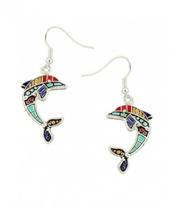 Liavy's Multi-Color Dolphin Fashionable Earrings - Hand Painted - Epoxy - Fish Hook - Unique Gift and Souvenir - CN12N1G7GZW