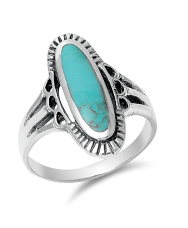 CHOOSE YOUR COLOR Sterling Silver Long Oval Ring - Simulated Turquoise - CA11Y23LEQR