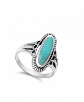 Simulated Turquoise Beautiful Sterling Silver in Women's Band Rings