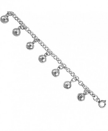 Sterling Silver Jingle Bells Charm Bracelet 12mm wide- fits 7-8 inch wrists - C1111D6MOO7