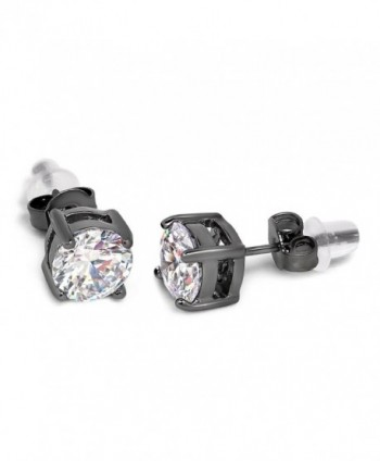 Buyless Fashion Surgical Steel Additional Push Back Black/White Round Crystal CZ Earring - CJ12E4JJCZN