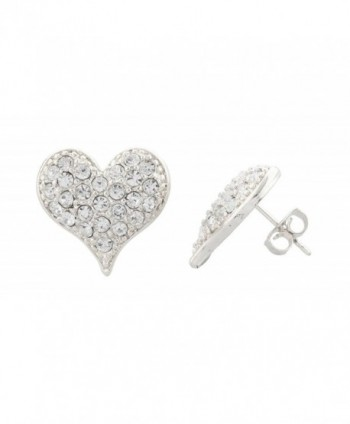 Silvertone Medium Size Iced Out 3D Heart Stud Earrings - CL11JSLPXQ5