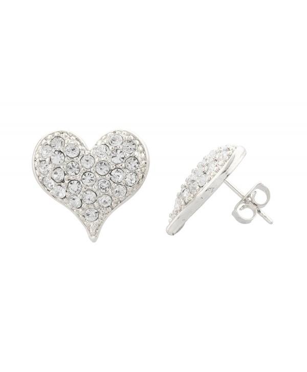 Silvertone Medium Size Iced Out 3D Heart Stud Earrings - CL11JSLPXQ5