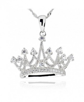 "Sterling Silver Round Cubic Zirconia Crown Pendant Necklace 18"" Chain - C412G9VJHQD"