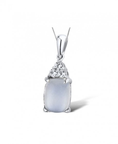 Moonstone Pendant Necklace with Lab Created White Sapphires in Rhodium Plated Sterling Silver with Chain - CT11AR4UK05