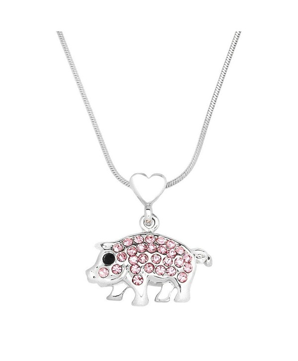 Liavys Piggy Pendant Fashionable Necklace - Pink - C4182M252O3