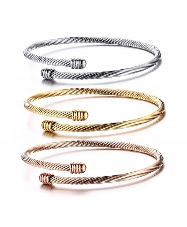 Stainless Steel Triple 3 Stackable Cable Wire Twisted Cuff Bangle Bracelet For Women Gold Rose Silver Cu12o8k2dez