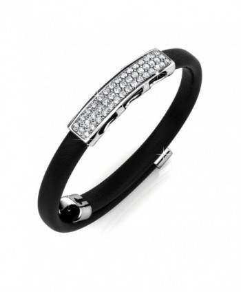 Alaxy Quality Genuine Leather White Gold Bracelets Swarovski - Black - CQ186IE7RDD