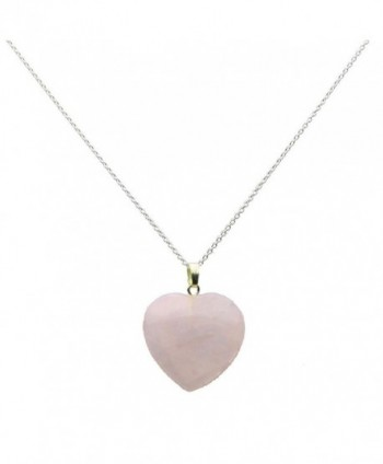 Small Pale Rose Quartz Stone Heart Pendant Sterling Silver Cable Chain Necklace - CW12BDGC72P