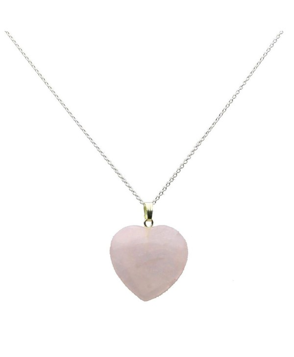 Small Pale Rose Quartz Stone Heart Pendant Sterling Silver Cable Chain Necklace - CW12BDGC72P