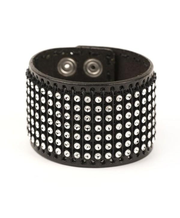 81stgeneration Women's Men's Genuine Leather Black Adjustable Punk Rock Cuff Bracelet - CH117EJ6EWP