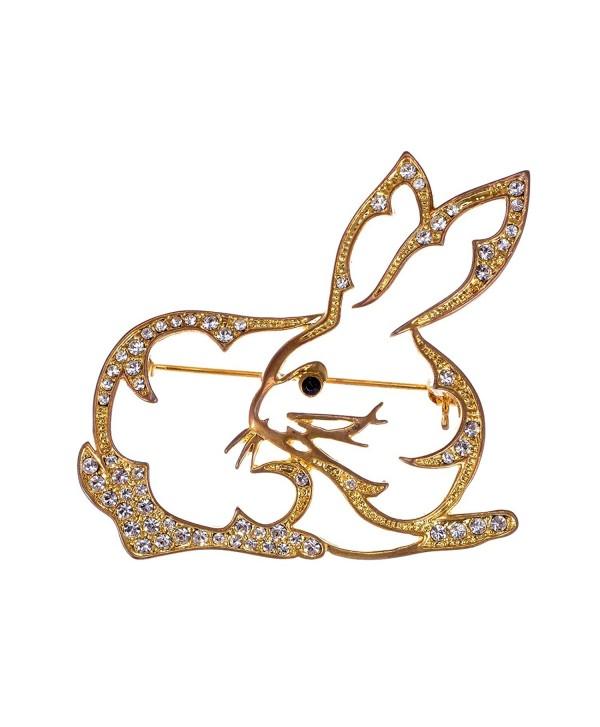 Alilang Golden Tone Clear Crystal Colored Rhinestones Cutout Bunny Rabbit Brooch Pin - C61143SAS0X