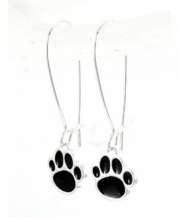 Paw Print Earrings Black- Orange. Red- Blue- Purple French Hook - Black - CO126VU963B
