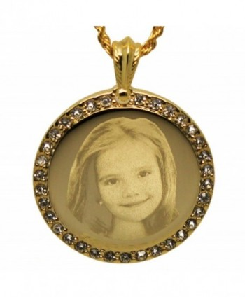 Personalized Photo Engraved Crystal Inlaid Round Pendant Necklace - Free Engraving Included - CR12KV7LXNB