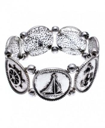 PammyJ Brushed Silvertone Nautical Sea Theme Stretch Bracelet - C911YMAYA8R