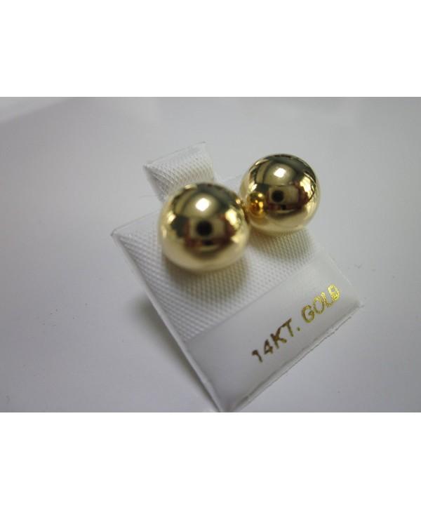 14k Gold Plated Brass 12 Mm Ball Stud Earrings - CX1256FVOFZ