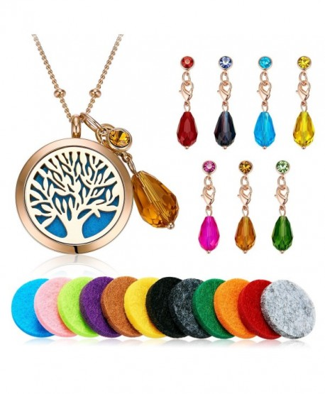 "Vcmart Aromatherapy Essential Oil Diffuser Pendant Locket Necklace- 24"" - Rosegold-tone - C11857HYUKY"