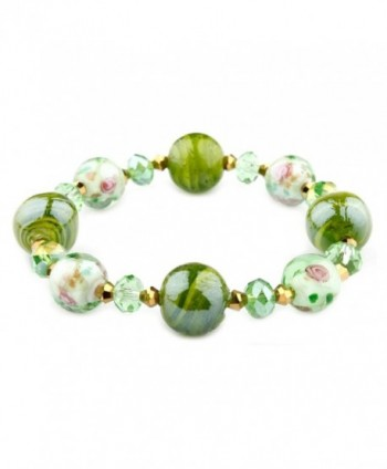 Francesca Collection Green Murano Glass Bracelet - C311S032SQF