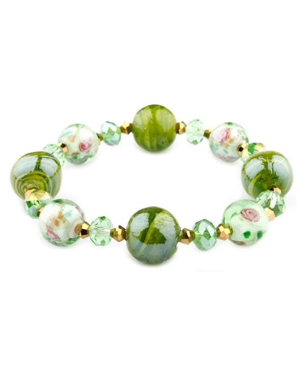 Francesca Collection Green Murano Glass Bracelet - C311S032SQF