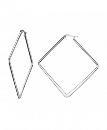 Stainless Steel Oversize Square-shaped Polished Simple Plain Geometric Hoop Earrings for Women Girl - CE186ARWT8C