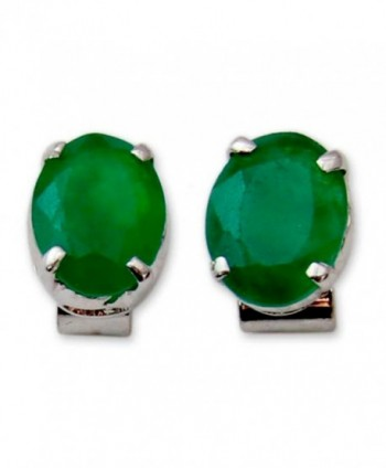 NOVICA .925 Sterling Silver and Green Heat-Treated Onyx Button Earrings- 'India Green' - C311G3W64XD