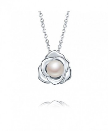 "Lovely Rose High Polished 925 Sterling Silver Pandent Necklace 18"" with 8mm Natural Freshwater Pearl - CA1868GEEZI"