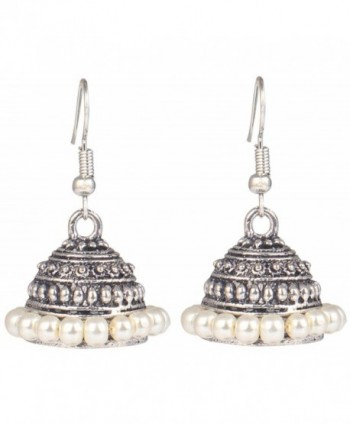 Sansar India Oxidized Light Weight Beaded Indian Earrings Jewelry for Girls and Women - Silver - C912O399MYO