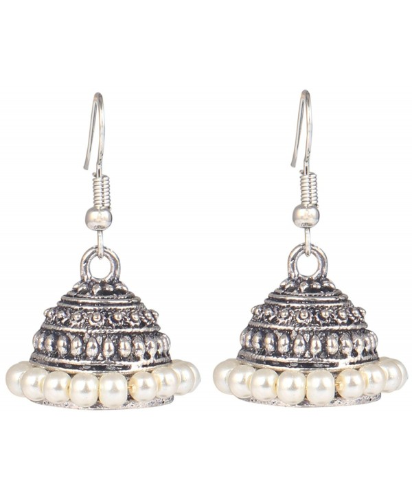 Sansar India Oxidized Stud Drop Indian Earrings Jewelry for Girls and Women