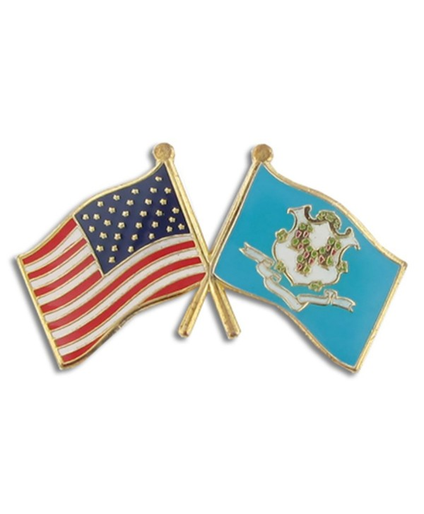 PinMart's Connecticut and USA Crossed Friendship Flag Enamel Lapel Pin - CP119PELAZH