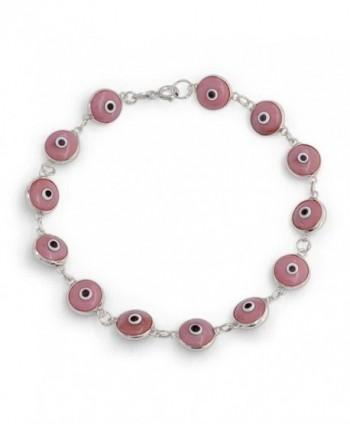 Bling Jewelry 925 Sterling Silver Pink Evil Eye Bracelet Glass 7in - CZ11017GDUZ