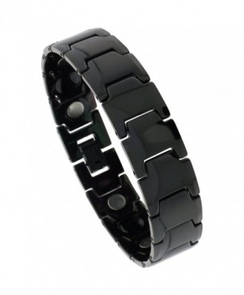 Tungsten Carbide Black Bracelet Magnetic Therapy Bar Links- 5/8 inch wide- - CG115K10ACX