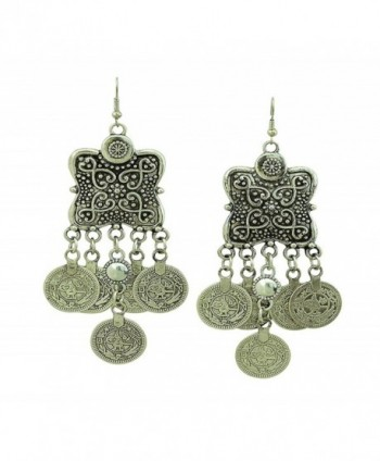 SUNSCSC Silver Plated Coin Earrings Beach Bohemian Ethnic Jewelry Belly Dance Accessory Hook Earrings - CJ11ZTJAFHL