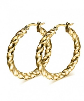AnaZoz Jewelry Punk large hoop earring for women lady stainless steel gold chunky - gold - CK11YKKZZ2B