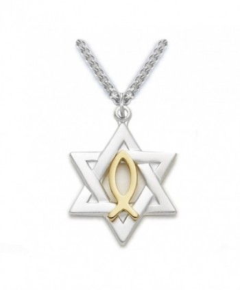 Sterling Silver Star of David with Gold Tone Ichthus Fish Pendant- 7/8 Inch - CG1149QZQ4X