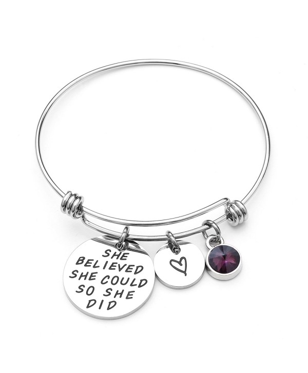 Liuanan She belived she could so she did Inspirational Bracelet Expandable Bangle Birthstone Stainless Steel Cuff - C517YI3STG6