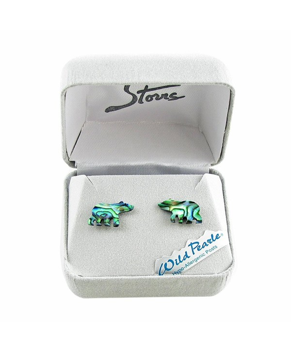Storrs Wild Pearle Handmade Abalone Silver Plated Post Earrings Spirit Bear E8511217 - CJ12LJT668R