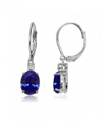 Sterling Silver Genuine or Created Gemstone Oval Dangling Leverback Earrings - Created Blue Sapphire - CL12O5M1H36