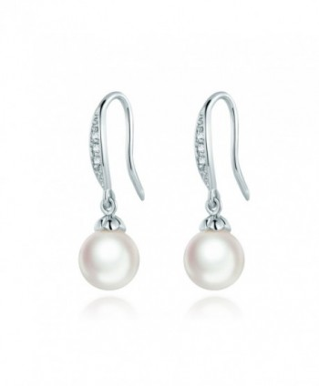 MASOP Hoop Earrings Ziron Stone Dangle Simulated Pearl Silver Tone - CC12N20P3L2