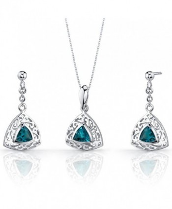 London Blue Topaz Pendant Earrings Set Sterling Silver Rhodium Nickel Finish Filigree Trillion Shape - CO115NU74P3