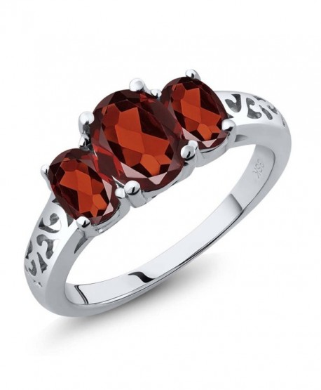 Sterling Silver 3-Stone Oval Garnet Women's 3 Stone Ring (2.50 Carat- Available in size 5- 6- 7- 8- 9) - C5116TFK43F