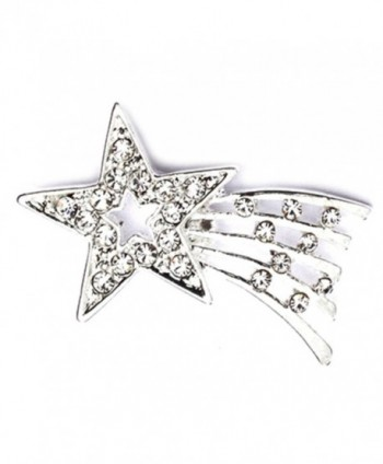 PinMart's Silver Plated Rhinestone Shooting Star Brooch Pin - C911MCFFEM7